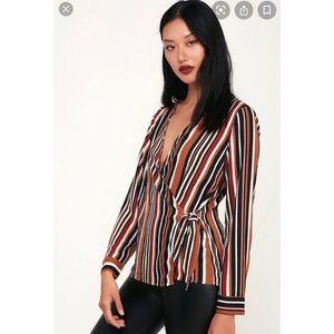 LULUS•NEW McKenna Brown Multi Stripe Wrap Top Sz L